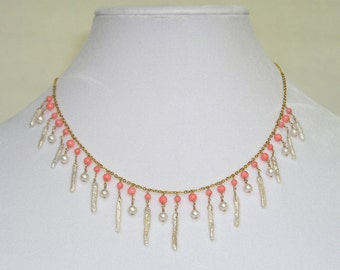 Pearl & Coral Necklace - item #1160