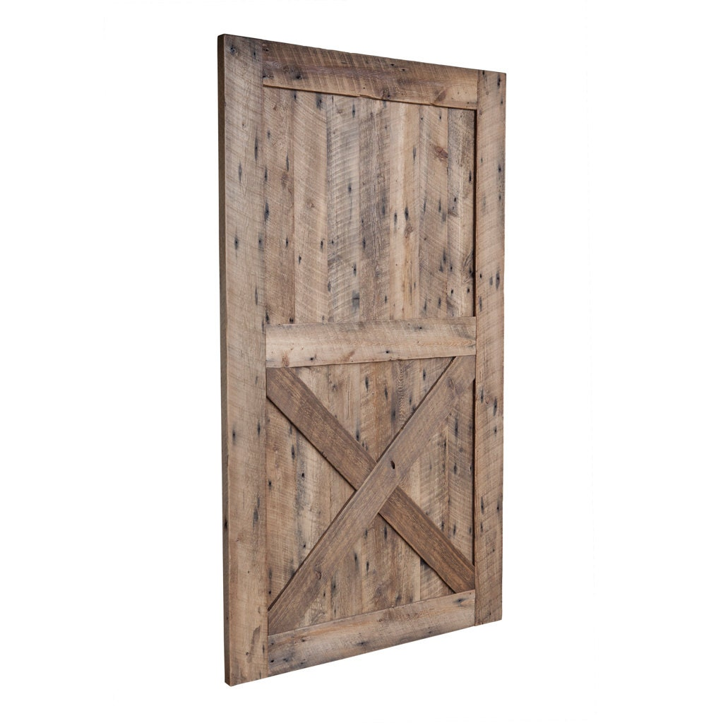 hanging barn door from reclaimed barn wood by waltonwoodcraft