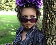 Purple Silk Three Rose Headband/Races/Flower crown/Wedding/Festival/Party Ref:0063