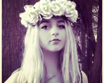 White Flower Headband /White Glitter Flower Crown/DayoftheDead/Wedding Bride/Bridesmaid/Halloween costume/Christmas Ref:022