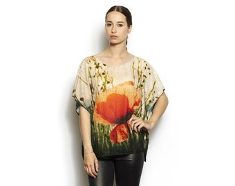 tunic light print poppy