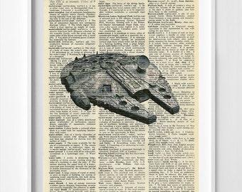 Star Wars Art - Star Wars Dictionary Print - millennium falcon - millennium falcon Poster - millennium falcon Dictionary Poster