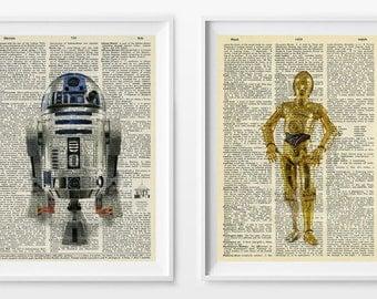 Star Wars Art - Star Wars Dictionary Print - R2D2 C3PO Art - R2D2 Poster - C3PO Dictionary Poster - Star Wars Wall Art - Droids - Droid Art