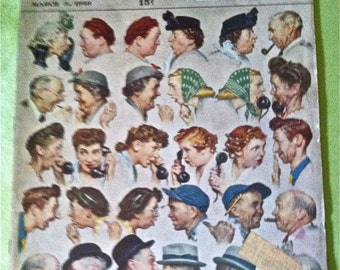 """Vintage First Edition Saturday Evening Post Magazine March 3rd 1948 Edition Featuring Norman Rockwell """"The Gossips"""" Cover Illustration"""