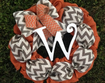 Fall Wreath, Fall Burlap Wreath, Autumn Wreath, Thanksgiving Wreath, Halloween Wreath, Burlap Wreath with Initial