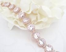 Rose Gold Bridal bracelet, Rose Gold Cuff bracelet, Crystal Wedding bracelet, Wedding jewelry, Crystal bracelet, Rose Gold jewelry