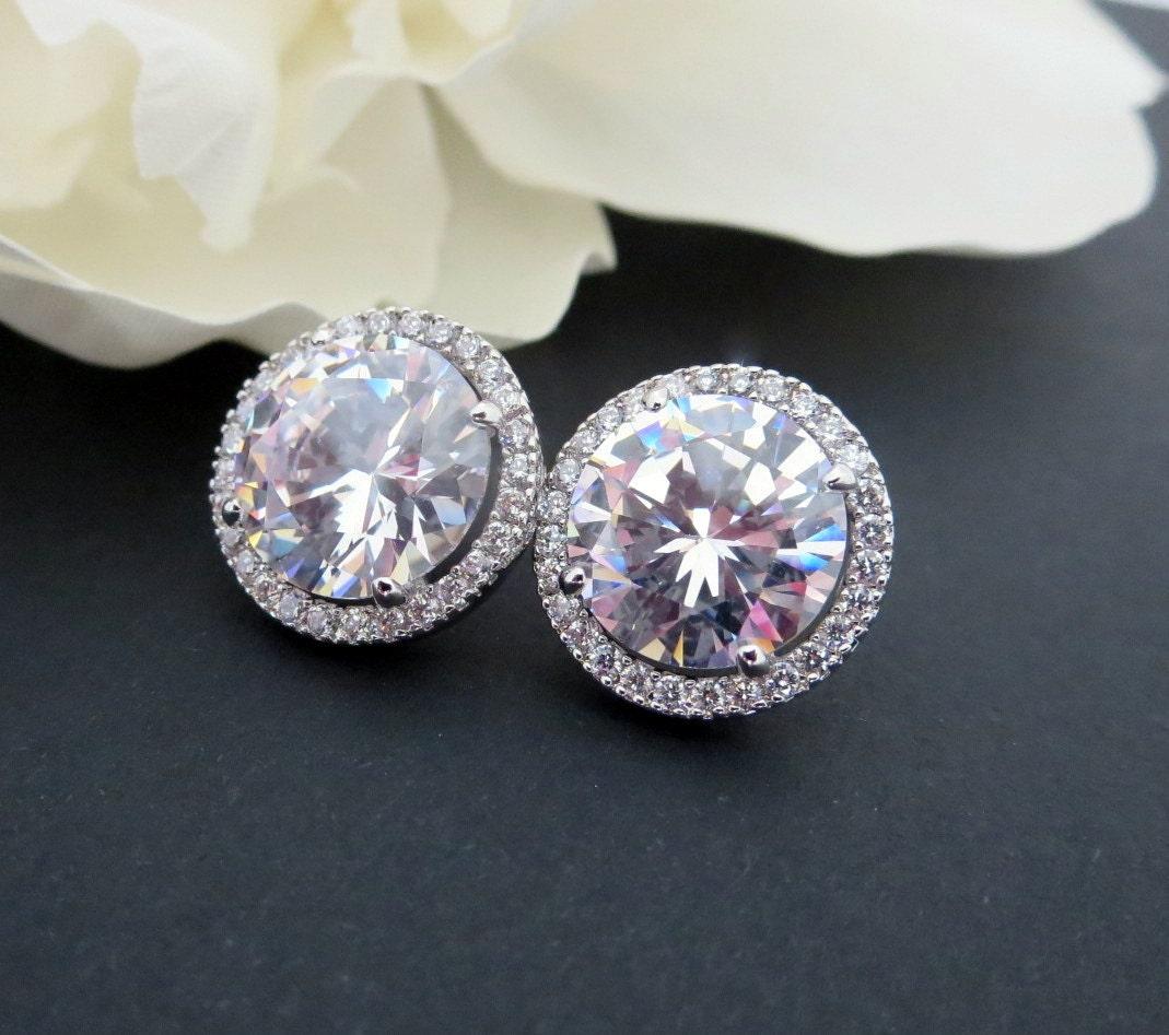 stud bridal earrings halo stud earrings wedding