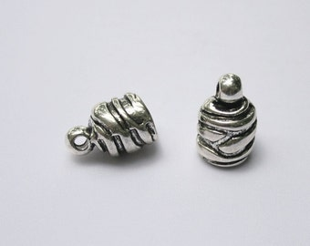 "1 Large Antique Silver Pewter ""Beehive"" End Cap Bead"