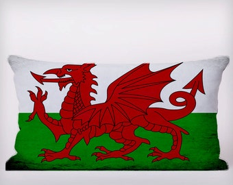 Wales Welsh Flag - Customizeable Personlized   -Cushion Fabric Panel Or Case or with Filling