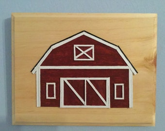 Red Country Barn Handmade Original Wood Art