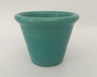"Bauer Ringware Pottery Planter, Green, Turquoise, Teal, Aqua, Bauer Garden Pot, Vintage 4""Tall, 5"" Diameter Top"