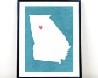 Georgia Art Print, Georgia State Print, Wall Art, Personalized State Print, Wall Decor, State Love Map Print, Atlanta, CUSTOMIZE