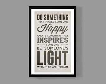 Dave Grohl Music Poster - Be Someone's Light When They Are Hopeless Print - Inspirational Quote Motivational, Gift