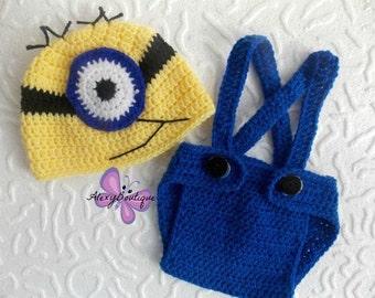Crochet Minion outfit baby boy crochet minion outfit minion costume minion baby crochet minion hat newborn Halloween costume baby boy gift