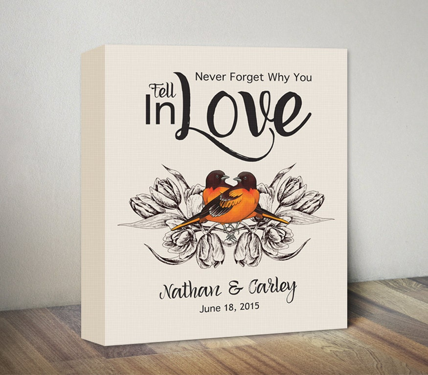 Wedding Gifts With Quotes : Canvas Wedding Gift Canvas Quote & Orange Love Birds by MummyPic