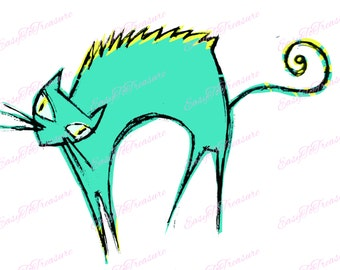 Digital Download Clipart – Scary Cat, Halloween JPEG and PNG files