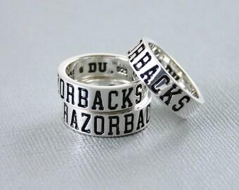 Arkansas Razorbacks Silver Ring Size 6, UAR-6121-6