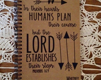 "Personalized Journal, ""The Lord establishes their course"", Proverbs 16:9"