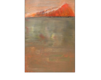Glimmer Orange Painting Shimmer Light on Water Small Acrylic Landscape Abstract Painting on Paper Sparkle Abstract Water Original Painting