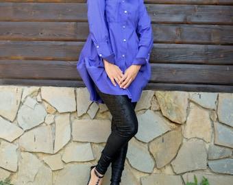 Purple Cotton Blouse / Purple Shirt / French Cuff Shirt TT64