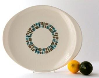 Temporama Dura-Gloss Large Serving Platter, Atomic Age, Mid Century Modern, Canonsburg Pottery
