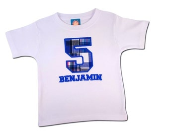 Boy's Birthday Shirt with Plaid Number and Embroidered Name - M27