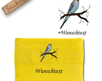 Bath towel embroidered with blue white budgie + own words