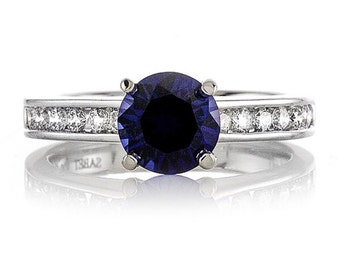 Sapphire Engagement Ring Diamond .33tw and Sapphire 1.40ct Engagement Ring Wedding Ring set in 14kt White Gold 100549