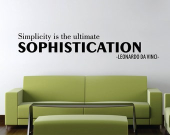 Da Vinci Sophistication Quote New Vinyl Wall Decal Sticker Decor