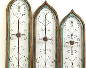 Architectural Distressed Turquoise  Gothic Windows Set 3-Wall-Primitive-Rustic-Garden-Patio