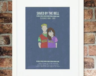 Saved By The Bell minimalist A3 print (unframed or framed options available)