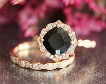 Rose Gold Vintage Floral Black Spinel Diamond Engagement Ring and Wedding Band Set in 14k Gold Scalloped Ring 8x8mm Cushion Gemstone Ring