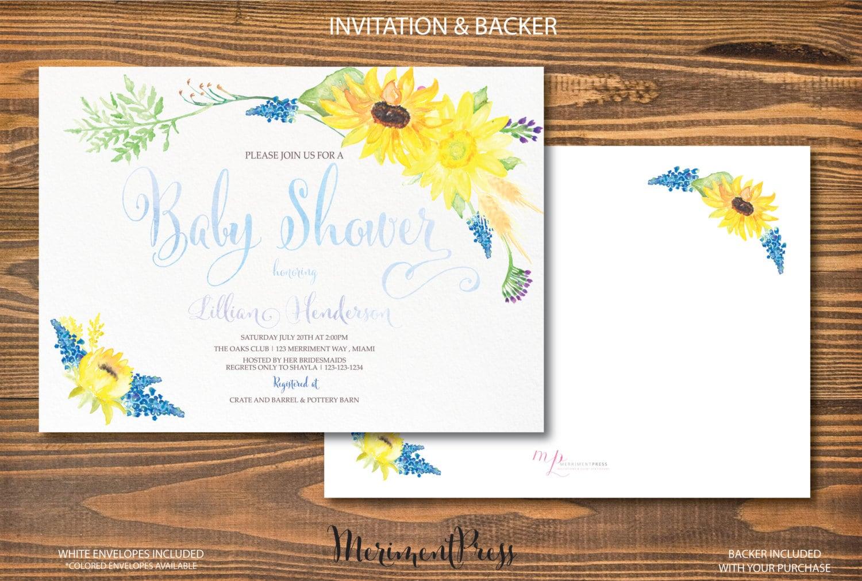 Sunflower Baby Shower Invitation Sunflowers Watercolor Calligraphy ...