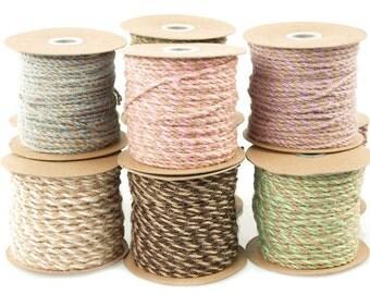 Jute Twine Cord Ribbon Bi-Colored, 5/64-Inch, 50 Yards
