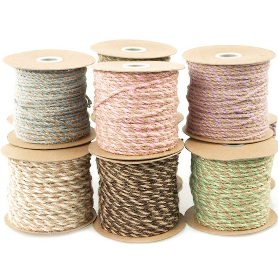 Jute Twine Cord Ribbon Bi-Colored 5/64-Inch 50 Yards