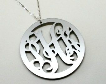 "Large 2"" Silver Acrylic Monogram Necklace"