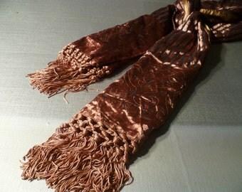 Vintage Velvet Long Scarf Fringe