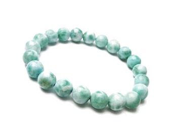10mm Larimar Bracelet , Natural Larimar Bracelet, Genuine Larimar Jewelry Bracelet, Larimar Gemstone Beads Bracelet, Mens Womens Bracelet