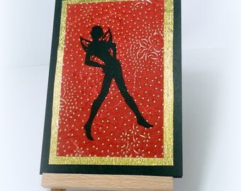 Mischief Fairy Handmade card Pixie card Handmade paper Recycled Upcycled Red Black Gold Fantasy Halloween Love Any occasion mcrtycards UK