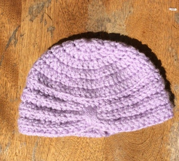 Crochet Lavender Preemie Baby Hat