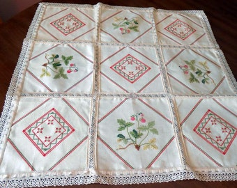 Strawberry Cross Stitch Embroidery And Lace Luncheon Tablecloth 9 Patch