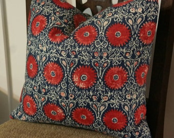 Pillow Cover, BOTH SIDES Designer Pillow Cover, 18x18, 20x20, 22x22, 24x24 Duralee Riya Blend Red/Blue