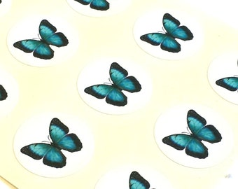 """1"""" Round - 12 White Envelope Seals/Stickers - Butterfly for Wedding Envelope Invitations Decoration, or Wedding Favor, Planner or Scrapbook"""