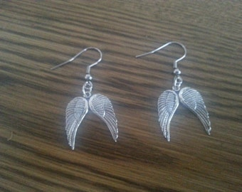 Angel wings Earrings with stainless steel french hooks