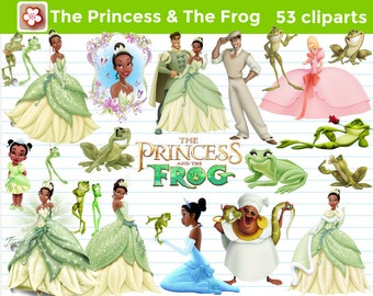 53 The Princess & The Frog Cliparts Princess Tiana and Prince Naveen Instant Download