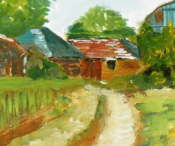 Old Barns At Ickham Kent Original And Framed Acrylic