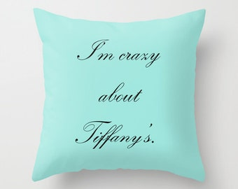 Breakfast at Tiffany's Pillow - Velveteen Pillow Cover - Breakfast at Tiffanys Decor - Aqua - Decorative Pillows - Gift Ideas for Women