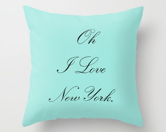 New York City Pillow, Breakfast at Tiffanys Decor, Velvet Cushion Cover, 18x18 or 22x22, Aqua Throw Pillow, New York Gift, Housewarming Gift