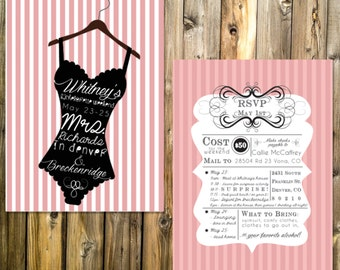 Pink Striped Bachelorette Party Invites