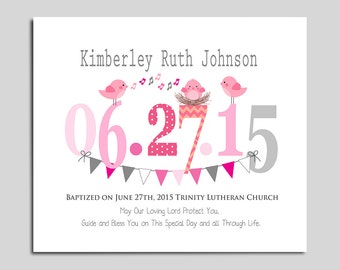 Baptism Gift from Godparents - Christening Gifts for Baby Girl - Personalized Nursery Wall Art - Gift for Godchild